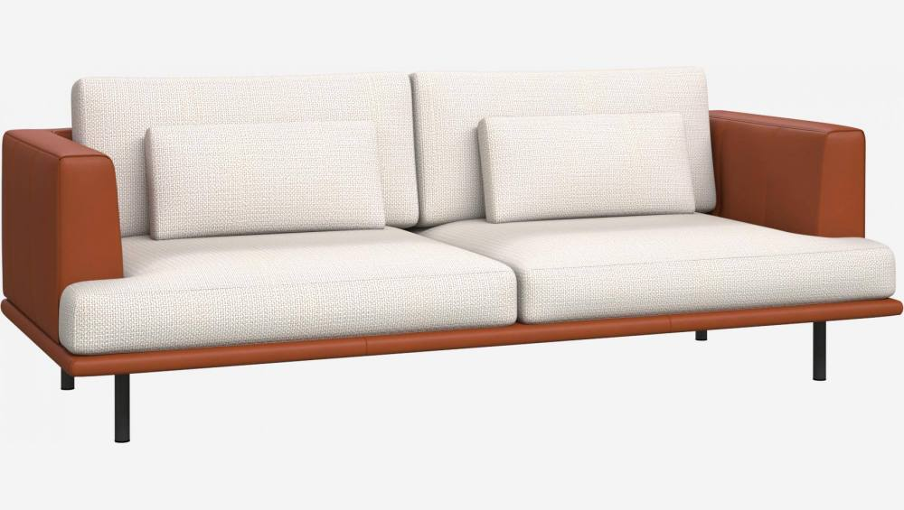3 seater sofa in Fasoli fabric, snow white with base and armrests in brown leather