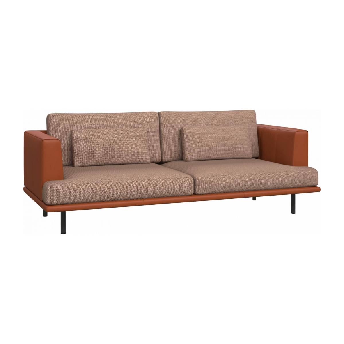 3 seater sofa in Fasoli fabric, jatoba brown with base and armrests in brown leather n°3