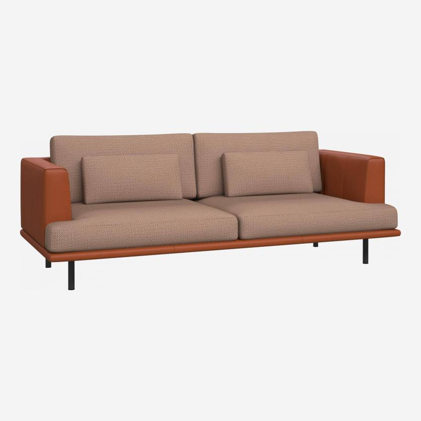 3 seater sofa in Fasoli fabric, jatoba brown with base and armrests in brown leather