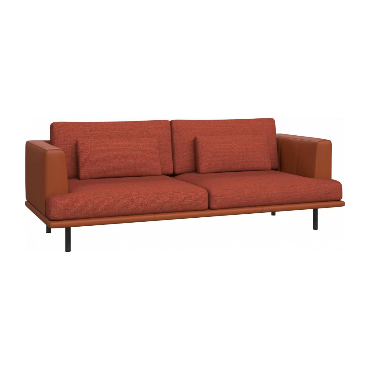 3 seater sofa in Fasoli fabric, warm red rock with base and armrests in brown leather n°3