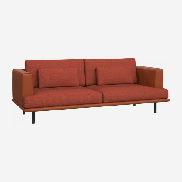3-seater sofa in Fasoli fabric - Brick red with brown leather base and armrests