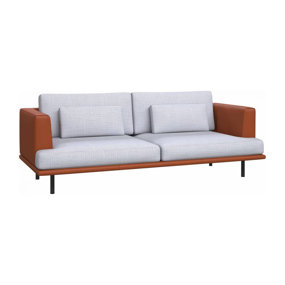 3 seater sofa in Fasoli fabric, grey sky with base and armrests in brown leather n°3