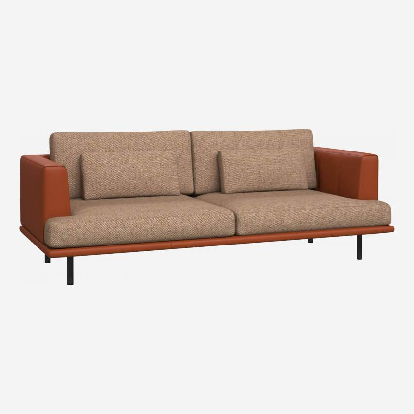 3 seater sofa in Bellagio fabric, passion orange with base and armrests in brown leather