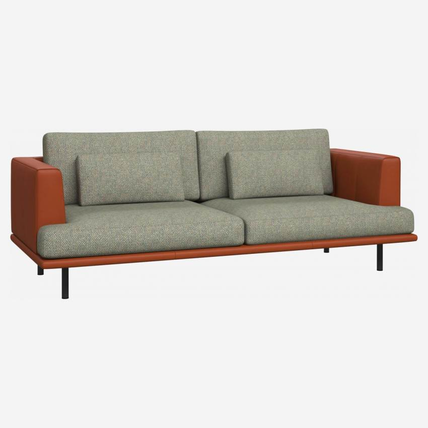 3 seater sofa in Bellagio fabric, organic green with base and armrests in brown leather