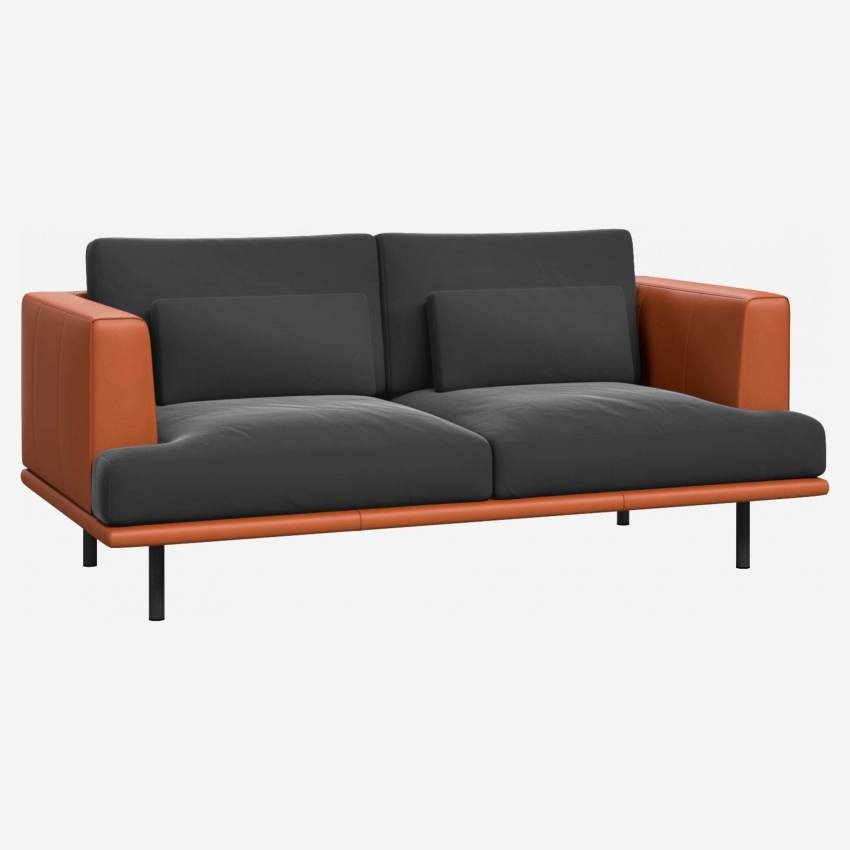 2-seater sofa in silver grey velvet - Brown leather base and armrests