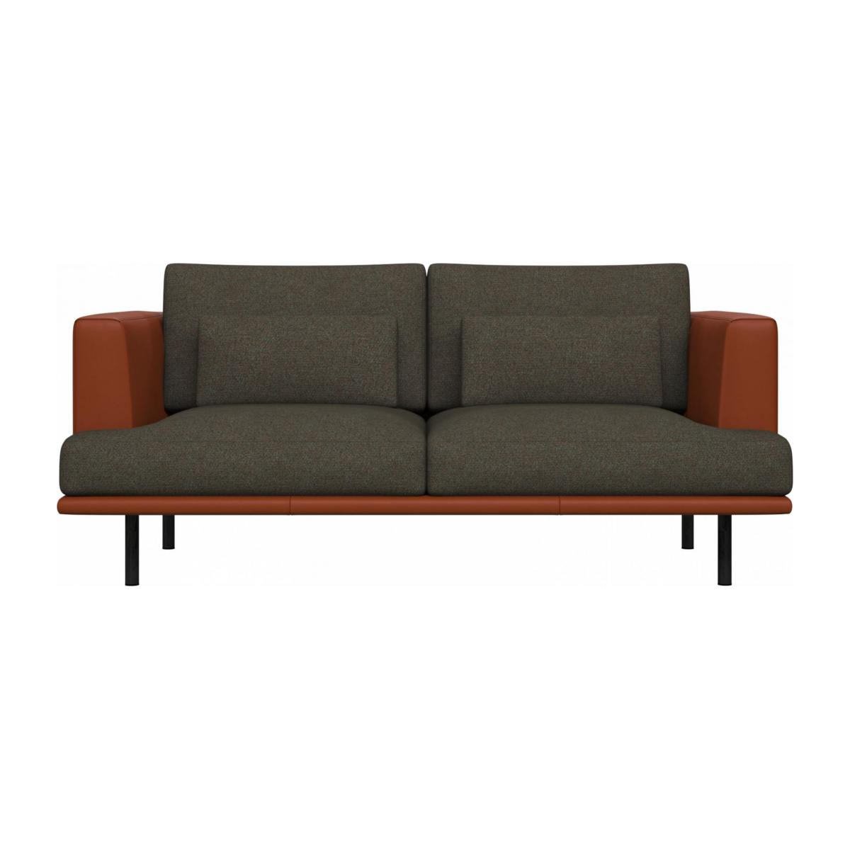 2 seater sofa in Lecce fabric, slade grey with base and armrests in brown leather n°1