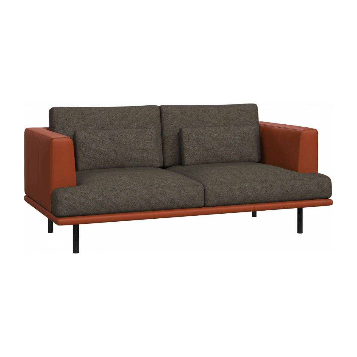 2 seater sofa in Lecce fabric, slade grey with base and armrests in brown leather n°3