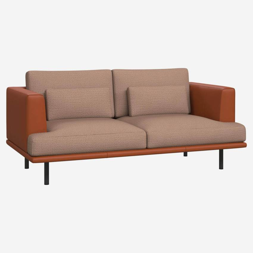 2 seater sofa in Fasoli fabric, jatoba brown with base and armrests in brown leather