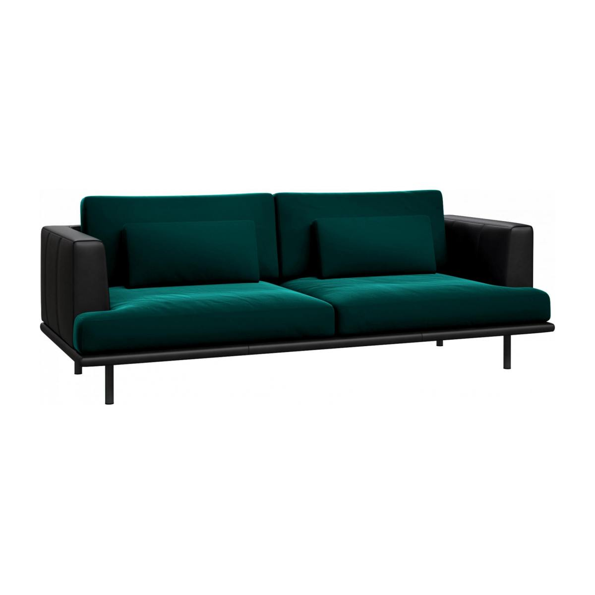 3 seater sofa in Super Velvet fabric, petrol blue with base and armrests in black leather n°3