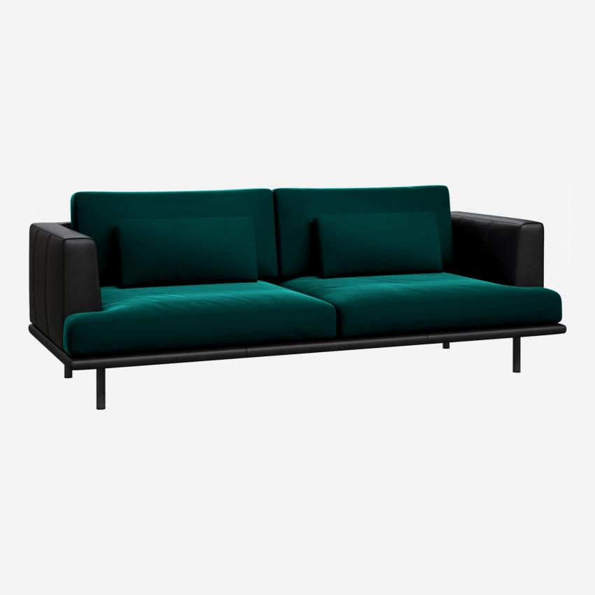 3 seater sofa in Super Velvet fabric, petrol blue with base and armrests in black leather