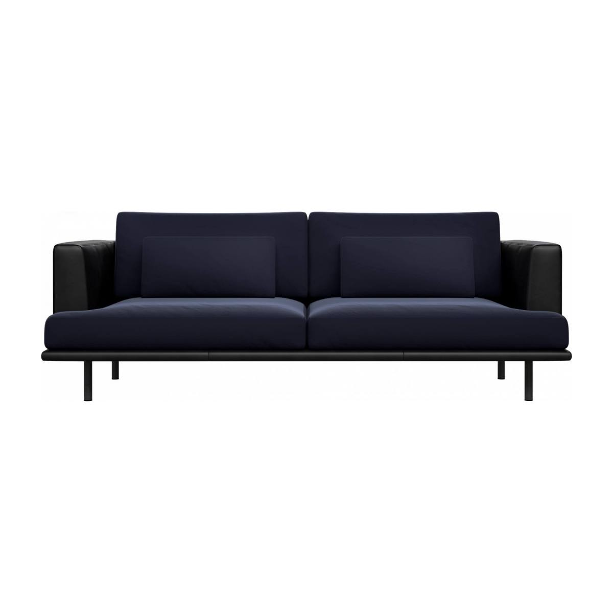3 seater sofa in Super Velvet fabric, dark blue with base and armrests in black leather n°1