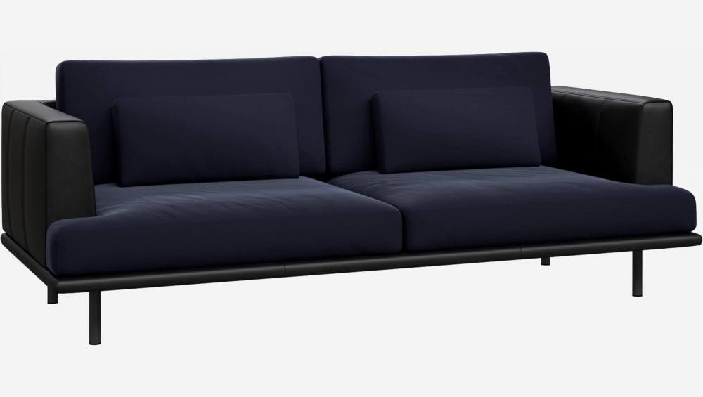 3 seater sofa in Super Velvet fabric, dark blue with base and armrests in black leather