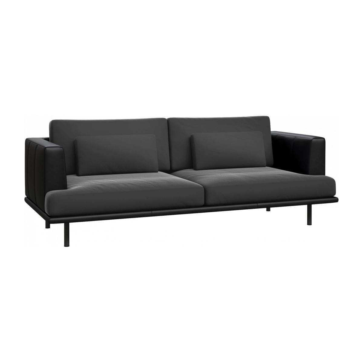 3 seater sofa in Super Velvet fabric, silver grey with base and armrests in black leather n°3