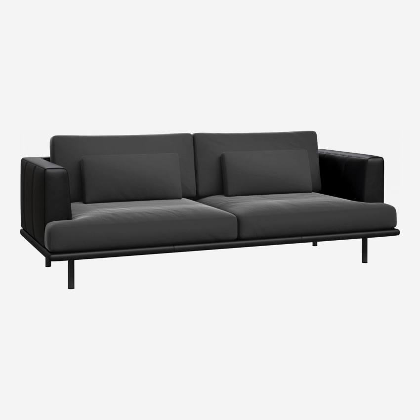 3 seater sofa in Super Velvet fabric, silver grey with base and armrests in black leather