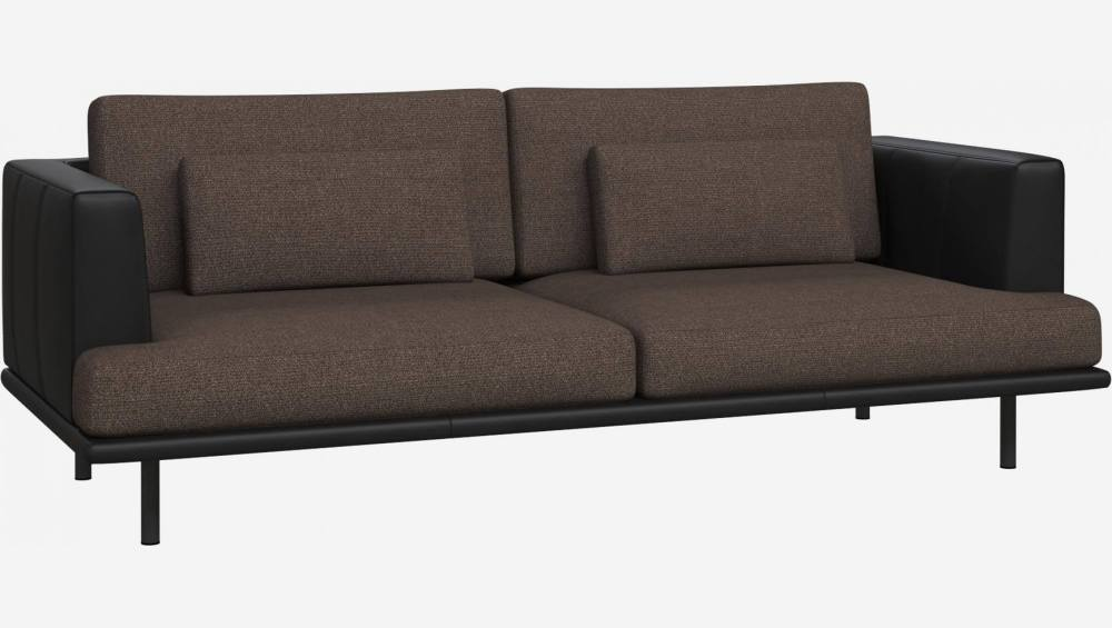 3 seater sofa in Lecce fabric, muscat with base and armrests in black leather