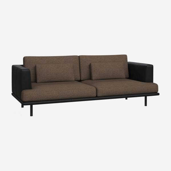 3 seater sofa in Lecce fabric, burned orange with base and armrests in black leather
