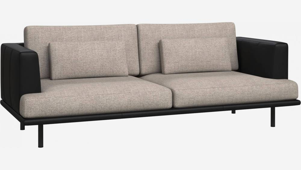 3 seater sofa in Lecce fabric, nature with base and armrests in black leather