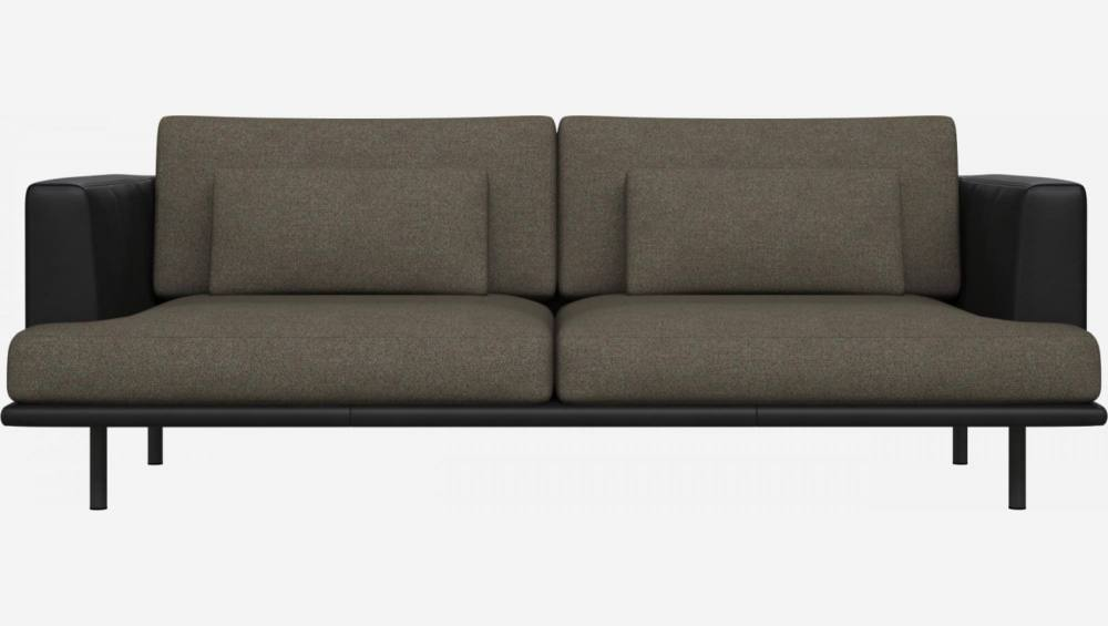 3 seater sofa in Lecce fabric, slade grey with base and armrests in black leather