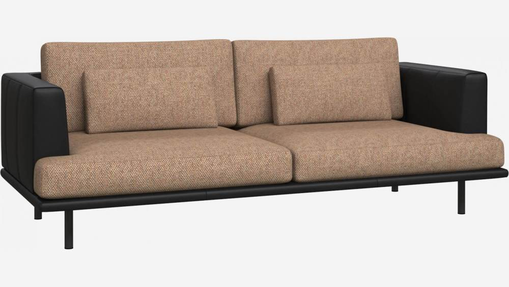 3 seater sofa in Bellagio fabric, passion orange with base and armrests in black leather