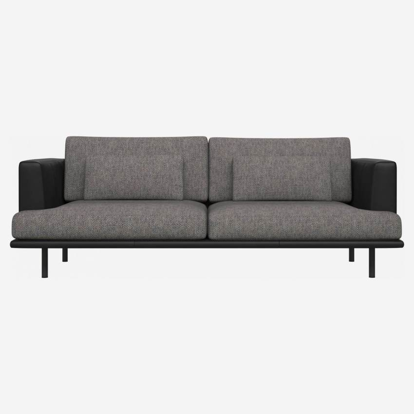 3 seater sofa in Bellagio fabric, night black with base and armrests in black leather