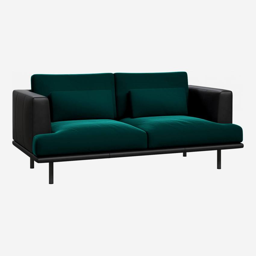 2 seater sofa in Super Velvet fabric, petrol blue with base and armrests in black leather