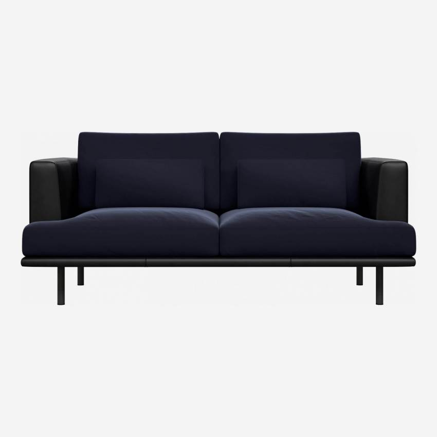 2 seater sofa in Super Velvet fabric, dark blue with base and armrests in black leather