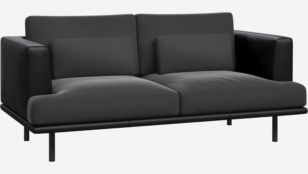 2 seater sofa in Super Velvet fabric, silver grey with base and armrests in black leather