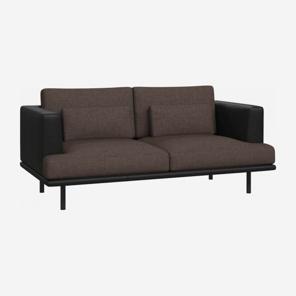 2 seater sofa in Lecce fabric, muscat with base and armrests in black leather