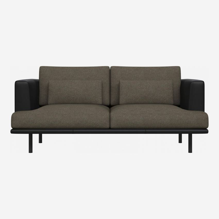 2 seater sofa in Lecce fabric, slade grey with base and armrests in black leather