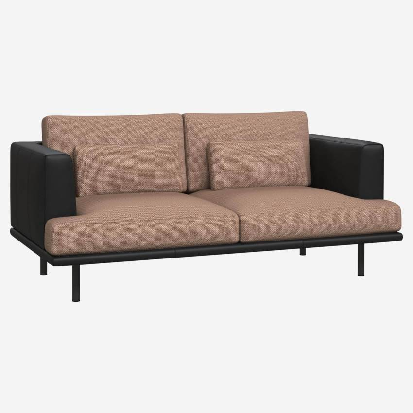 2 seater sofa in Fasoli fabric, jatoba brown with base and armrests in black leather