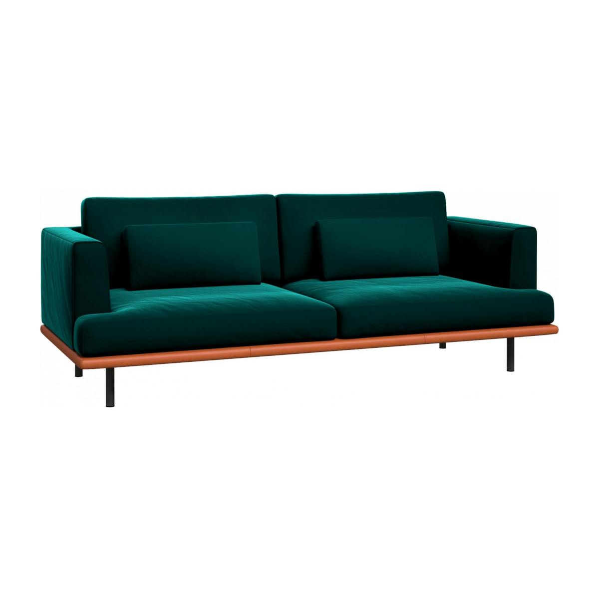3 seater sofa in Super Velvet fabric, petrol blue with base in brown leather n°3