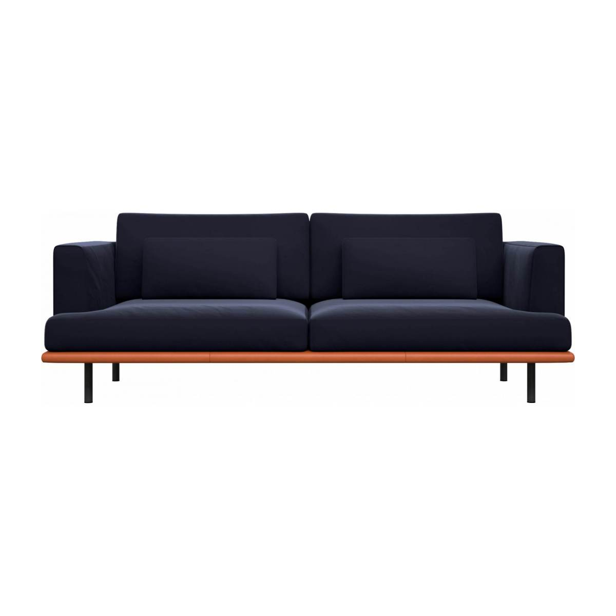 3 seater sofa in Super Velvet fabric, dark blue with base in brown leather n°1