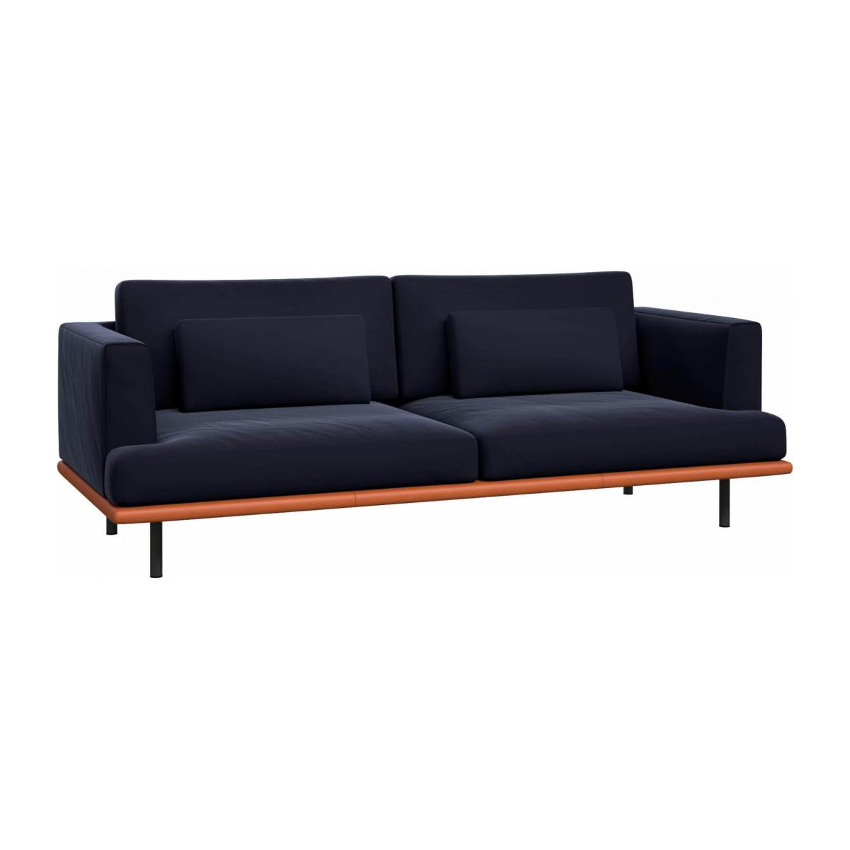 3 seater sofa in Super Velvet fabric, dark blue with base in brown leather n°2