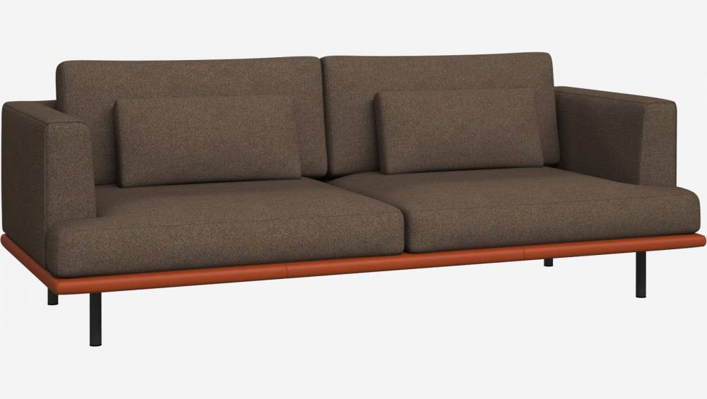 3 seater sofa in Lecce fabric, burned orange with base in brown leather