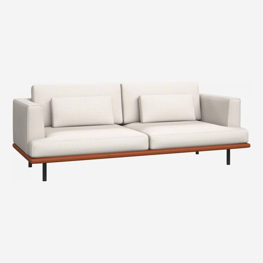 3 seater sofa in Fasoli fabric, snow white with base in brown leather