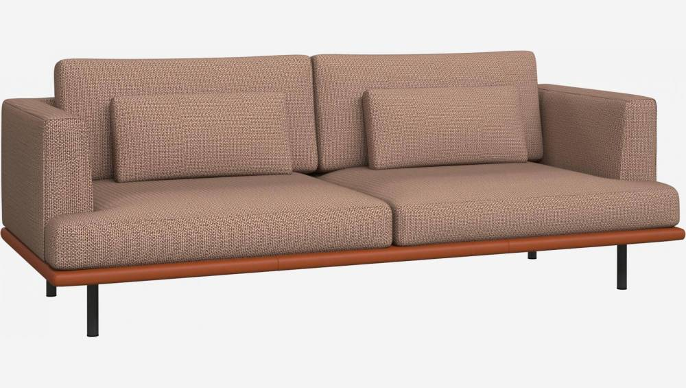 3 seater sofa in Fasoli fabric, jatoba brown with base in brown leather