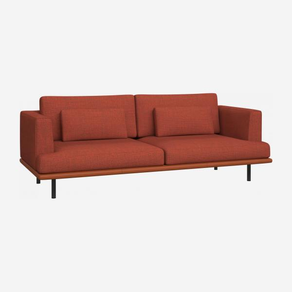 3 seater sofa in Fasoli fabric, warm red rock with base in brown leather