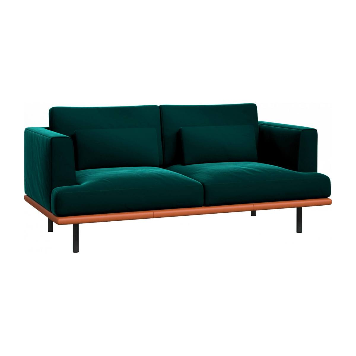 2 seater sofa in Super Velvet fabric, petrol blue with base in brown leather n°1