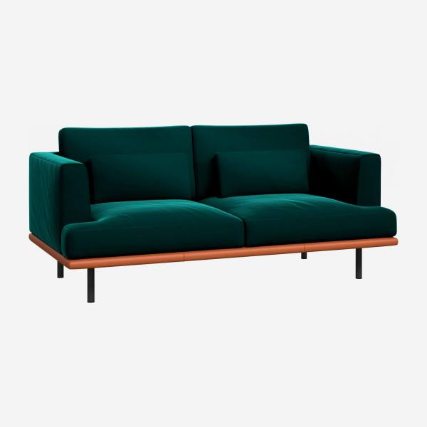 2 seater sofa in Super Velvet fabric, petrol blue with base in brown leather