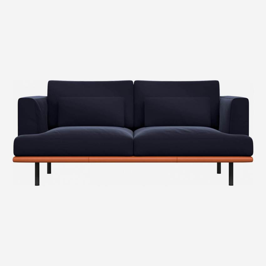 2 seater sofa in Super Velvet fabric, dark blue with base in brown leather