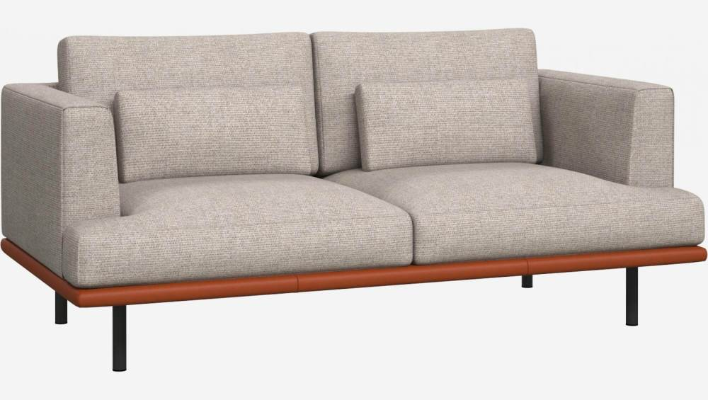 2 seater sofa in Lecce fabric, nature with base in brown leather