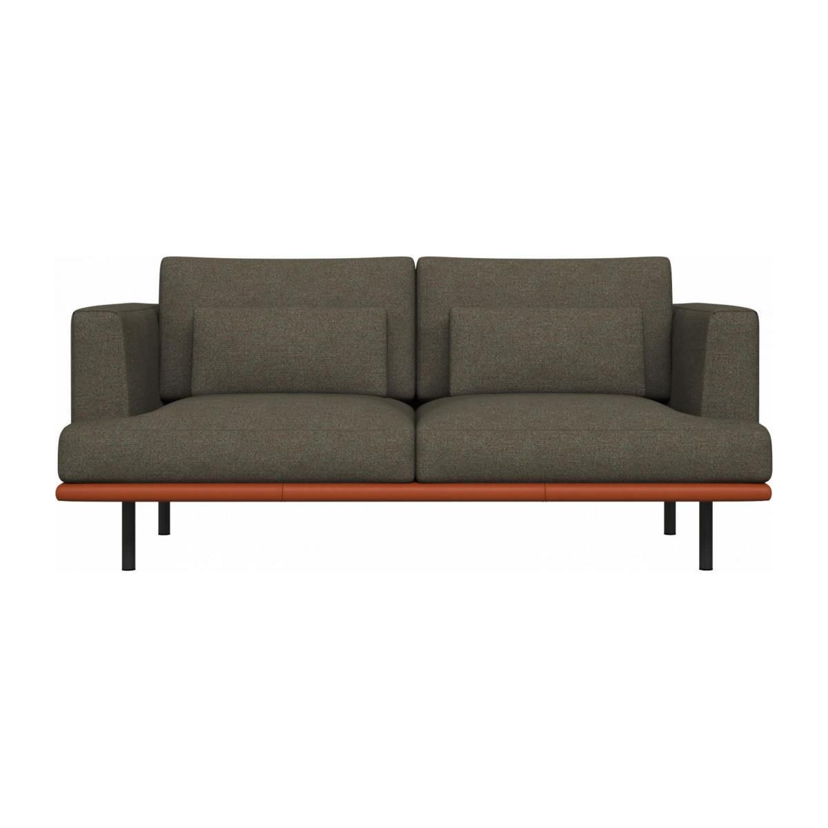 2 seater sofa in Lecce fabric, slade grey with base in brown leather n°1