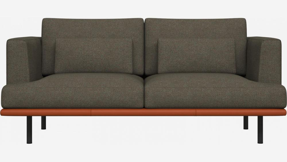 2 seater sofa in Lecce fabric, slade grey with base in brown leather