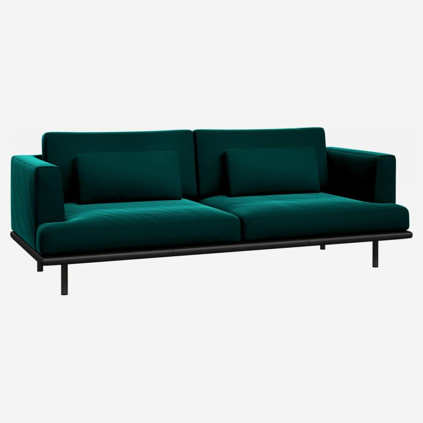 3 seater sofa in Super Velvet fabric, petrol blue with base in black leather
