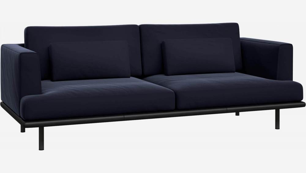 3 seater sofa in Super Velvet fabric, dark blue with base in black leather