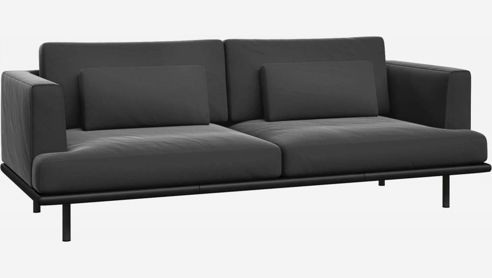 3 seater sofa in Super Velvet fabric, silver grey with base in black leather