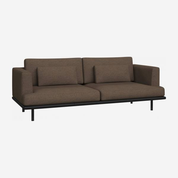 3 seater sofa in Lecce fabric, burned orange with base in black leather
