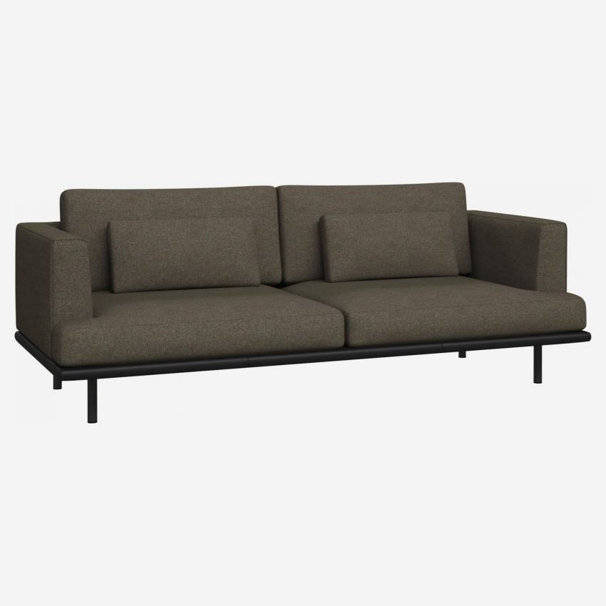 3 seater sofa in Lecce fabric, slade grey with base in black leather