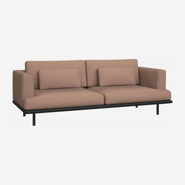 3 seater sofa in Fasoli fabric, jatoba brown with base in black leather