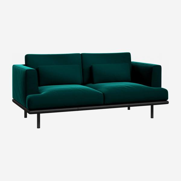 2 seater sofa in Super Velvet fabric, petrol blue with base in black leather